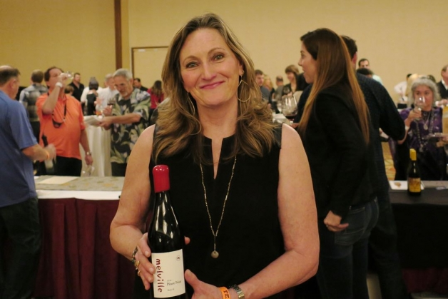 Laurie Counihan-Childs of Melville Vineyards & Winery outside Lompoc was among the representatives of more than 40 wineries pouring their products at the Fifth Annual Winter Wine Classic at The Fess Parker. (Gail Arnold / Noozhawk photo)