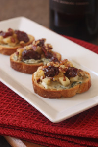 Blue Cheese, Apple and Dried Cherry Crostini Photo by http://goo.gl/HiG5kj - article by winegeographic.com
