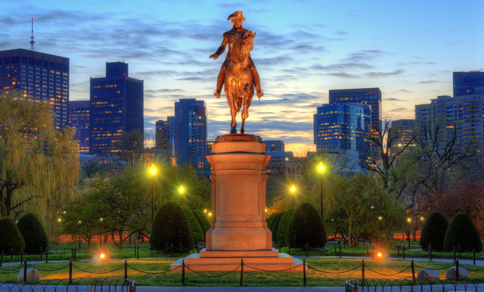 George Washington Statue at Boston Public Garden - wine and food pairing by winegeographic.com