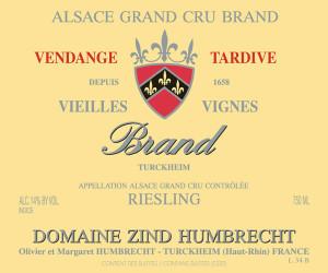 Domaine Zind-Humbrecht Riesling Brand Grand Cru, Vendage Tardive, Vielles Vignes